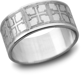 Greek Cross Wedding Band, 14K White Gold