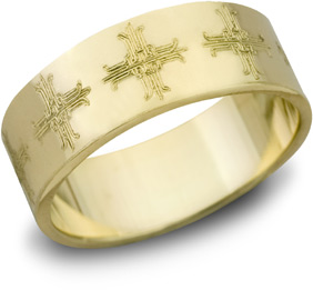 Ironwork Cross Wedding Band, 14K Yellow Gold
