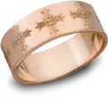 14K Rose Gold Ironwork Cross Wedding Band