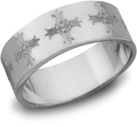Ironwork Cross Wedding Band, 14K White Gold