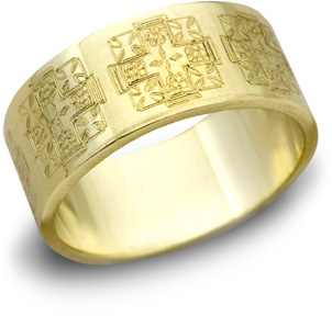 Jerusalem Cross Wedding Band, 14K Yellow Gold