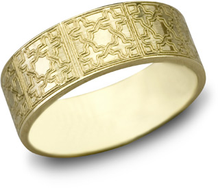 Lattice Cross Wedding Band, 14K Yellow Gold