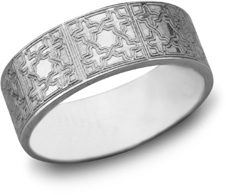 Lattice Cross Wedding Band, 14K White Gold