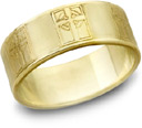 Celtic Cross Wedding Band, 14K Yellow Gold