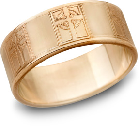 14K Rose Gold Celtic Cross Wedding Band