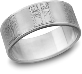 Celtic Cross Wedding Band, 14K White Gold