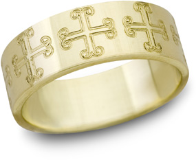 Saint Marks Cross Wedding Band, 14K Yellow Gold