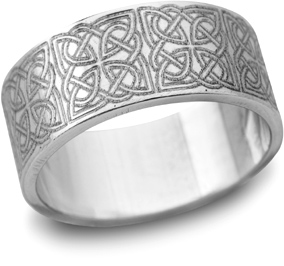 Celtic Filigree Wedding Band, 14K White Gold