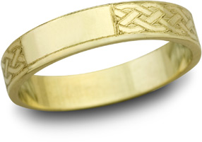 Celtic Engraved Wedding Band, 14K Yellow Gold