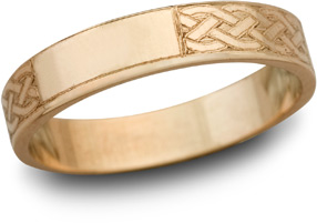 14K Rose Gold Celtic Engraved Wedding Band