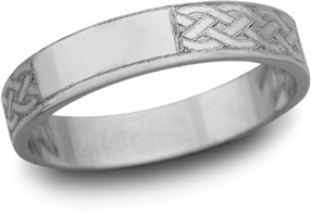 Celtic Engraved Wedding Band, 14K White Gold