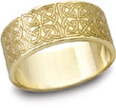 Celtic Filigree Wedding Band, 14K Yellow Gold