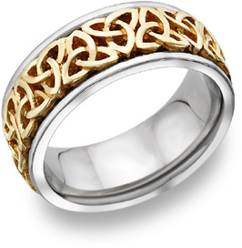 Celtic Trinity Knot Wedding Band, 18K Two-Tone Gold