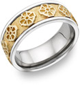 Celtic Cross Wedding Band, 14K Two-Tone Gold