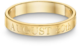 Personalized Anniversary Wedding Ring, 14K Yellow Gold