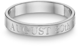 Personalized Anniversary Wedding Ring, 14K White Gold