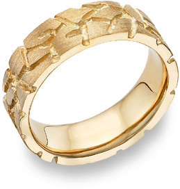 Nugget Design Wedding Band, 18K Yellow Gold