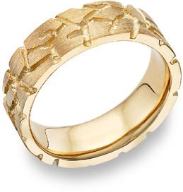 Mens Gold Nugget Wedding Rings