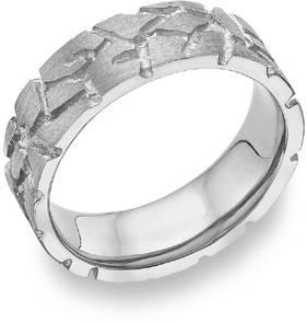 Nugget Design Wedding Band, 14K White Gold