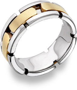 Link Design Wedding Band, 14K Two-Tone Gold