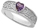 White Gold Bezel-Set Amethyst Floral Heart Ring