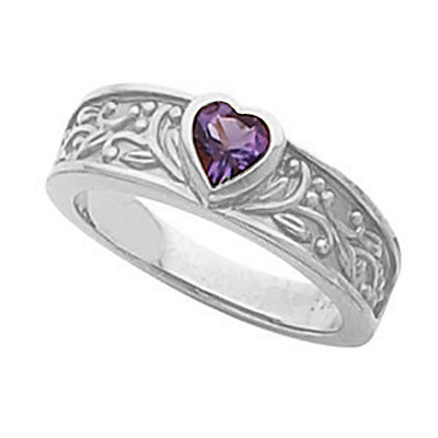 White Gold Bezel-Set Amethyst Floral Heart Ring