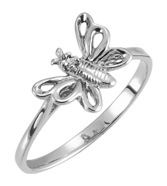 14K White Gold Butterfly Ring with Diamond