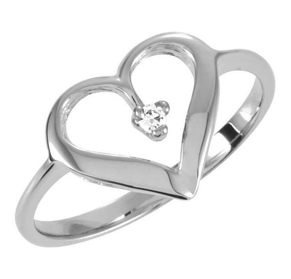 White Gold Single Diamond Heart Ring