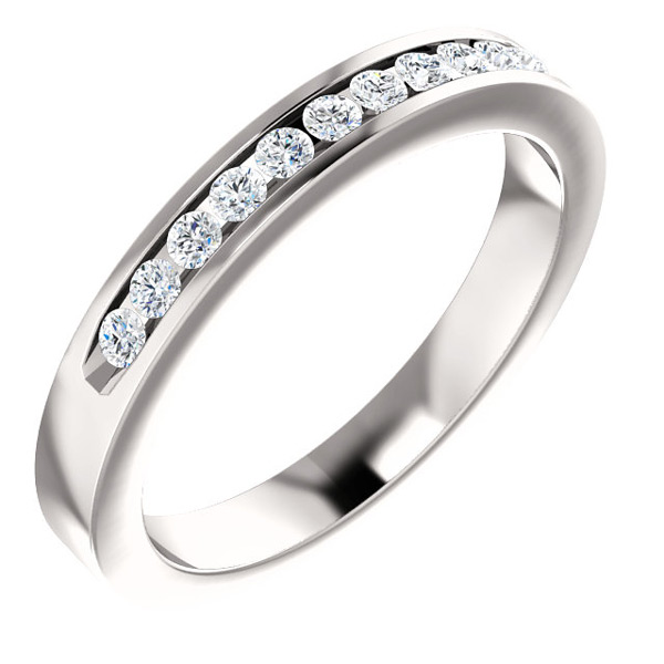 11-Stone Cubic Zirconia Band in 14K White Gold