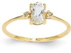 White Topaz and Diamond Birthstone Ring, 14K Gold