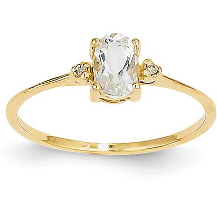 White Topaz and Diamond Birthstone Ring, 14K Gold