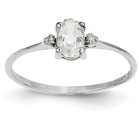 White Topaz and Diamond Birthstone Ring, 14K White Gold