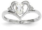 White Topaz Heart Ring in 14K White Gold