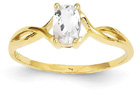 White Topaz Twist Design Birthstone Ring in 14K Yellow Gold
