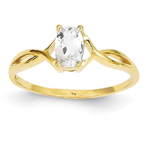 White Topaz Twist Design Birthstone Ring
