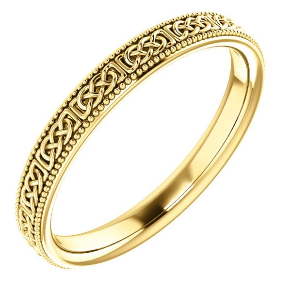 Women's Celtic  Milgrain Wedding Band Ring in 14K Gold