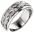 Men's Paisley Sculpted 14K White Gold Wedding Band Ring