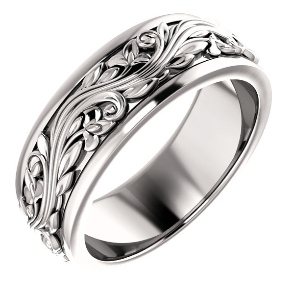 Women's 14K White Gold Paisley Sculpted Wedding Band Ring