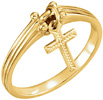 Dangle Cross Ring for Women in 14K Gold