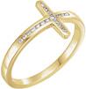Women's Diamond Cross Ring in 14K Gold
