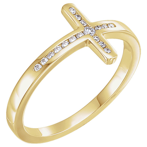 Women's Diamond Cross Ring in 14K Gold