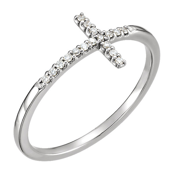 Sterling Silver Diamond Cross Ring for Women