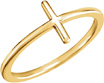 Women's Plain Cross Ring in 14K Gold