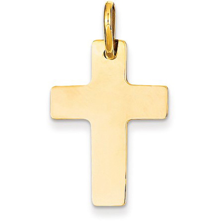 Women's Polished Flat Cross Pendant in 14k Yellow Gold