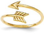 Wrap-around Adjustable Arrow Ring in 14K Yellow Gold