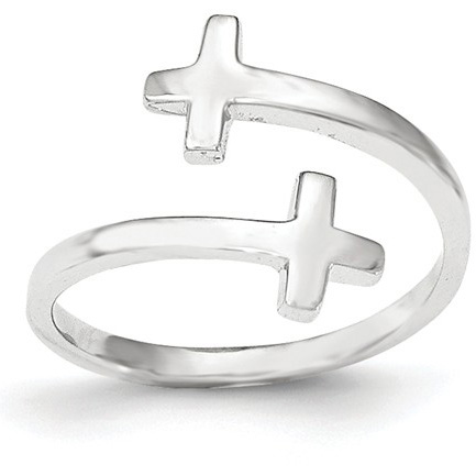 Wrap Around Cross Ring in 14K White Gold