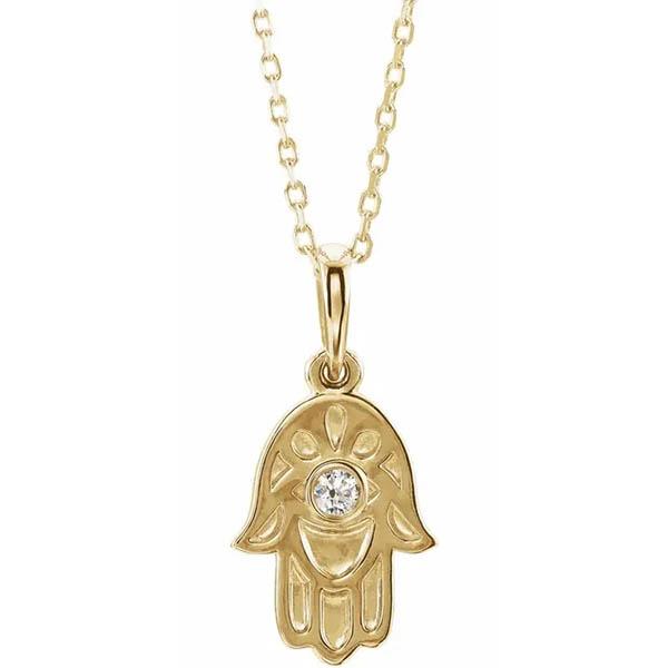 Small 14K Gold Diamond Hamsa Necklace
