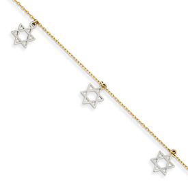 Star of David Bracelet, 14K Two-Tone Gold