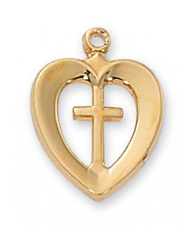 Heart Cross Pendant, 18K Gold Plated Silver