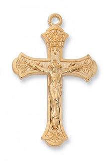 18K Gold Plated Silver Crucifix Pendant